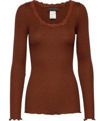silk t-shirt regular ls w/rev vinta t-shirts & tops long-sleeved bruin rosemunde