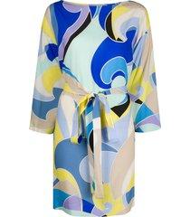 emilio pucci quirimbas-print beach dress - blue