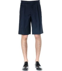 maison margiela blue wool blend tailored shorts