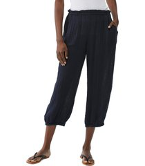 women's michael stars elsa relaxed crop joggers, size large - blue
