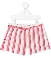 piccola ludo striped casual shorts - white