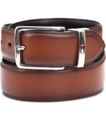 tommy hilfiger men's feather-edge reversible logo belt