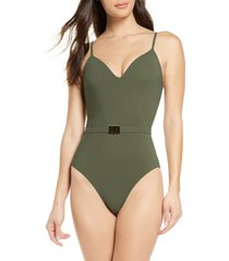 women's tory burch belted one-piece swimsuit, size x-small - green