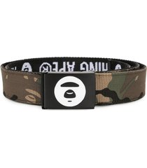 aape by *a bathing ape® camouflage print belt - brown