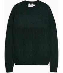 mens green and navy twist rack yoke panel sweater