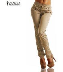 zanzea nueva llegada botones zipper sólido pantalones largos pantalones de las mujeres de otoño de cintura alta pantalones ocasionales delgados de capris más el tamaño de color caqui -beige