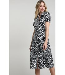 vestido chemise feminino midi estampado animal print manga curta preto