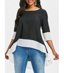 contrast trim high low blouse