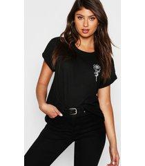 rose pocket print t-shirt, black