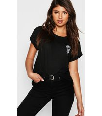 rozen t-shirt met borstopdruk, zwart