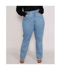calça jeans feminina plus size mindset reta loose copenhagen cintura super alta azul claro