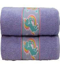 jogo 2 toalhas banho infantil algodã£o desenhos camesa 70x130 rosa - rosa - menina - dafiti