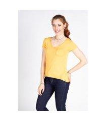 camiseta manga curta básica bolso lunender feminina
