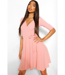 tall skater wikkel jurk, roze