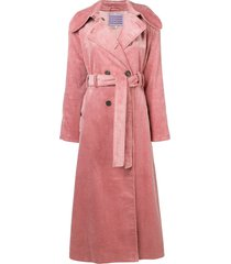 alexa chung double breasted corduroy coat - pink