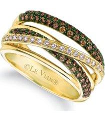 le vian chocolate (3/4 ct. t.w.) & vanilla diamond (1/6 ct. t.w.) multirow crossover ring in 14k gold