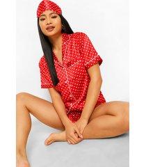 petite driedelige satijnen pyjama set met stippen, shorts en slaapmasker, red