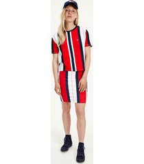 tommy hilfiger women's organic cotton stripe t-shirt deep crimson / navy / white - xl