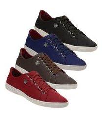 kit 4 pares de sapatênis masculino torrenezzi casual cadarço preto vermelho marrom e azul