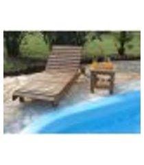 kit espreguiçadeira em madeira roma + 01 mesa lateral 45x45 robust