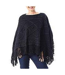 short cotton poncho, 'charming knit in onyx' (thailand)