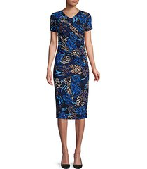 erykah floral jersey ruched dress