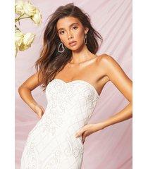 bridesmaid bandeau hand embellished maxi dress, ivory
