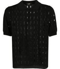fendi open knit polo shirt - black