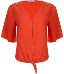 blusa con moño en frente color naranja, talla 10