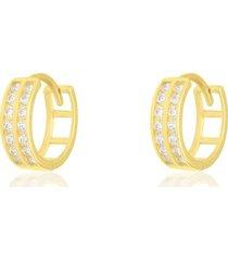 orecchini a cerchio in oro giallo binario doppio con zirconi per donna