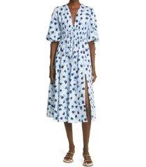 women's altuzarra donrine floral print cotton midi dress, size 6 us - blue