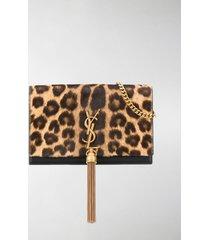 saint laurent kate leopard print clutch bag