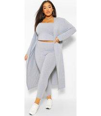 plus 3-delige leggings en cardigan set, grijs gemêleerd