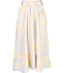 proenza schouler brush printed belted midi skirt - yellow