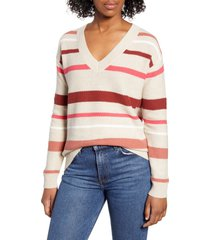 women's caslon v-neck cotton pique sweater, size x-small - beige