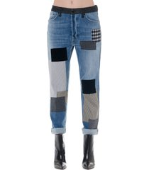 dondup hellen patch work design denim cotton jeans