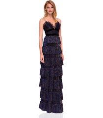 sukienka maxi elegancka z falbanami