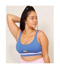 top esportivo color block decote redondo baw clothing azul
