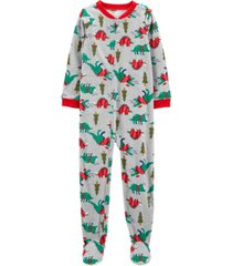 carter's big boy1-piece christmas dinosaurs fleece footie pjs