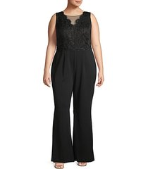 plus sleeveless lace jumpsuit