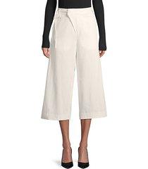 self-tie waist wide-leg cotton pants