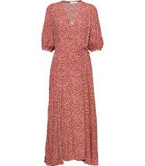 prt 3/4 slv wrap max jurk knielengte roze calvin klein