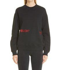 ambush logo embroidered sweatshirt, size medium in black red at nordstrom