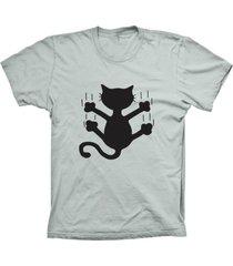 camiseta lu geek manga curta gato deslizando prata