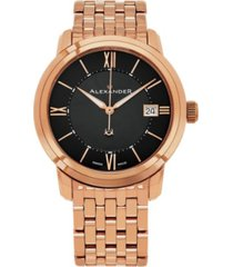 alexander watch a111b-07, stainless steel rose gold tone case on stainless steel rose gold tone bracelet