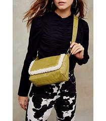 olive vinyl and borg shoulder bag - olive