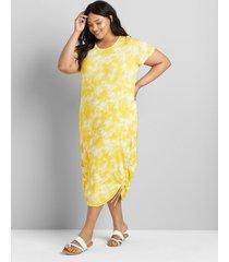 lane bryant women's ruched side midi dress 14/16 yellow tie dye