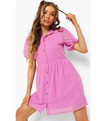 dobby mesh blouse jurk met knopen, lilac