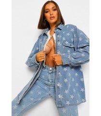 baggy spijkerstof tussenjas met sterrenprint, blue