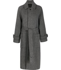 ami paris belted long coat - black